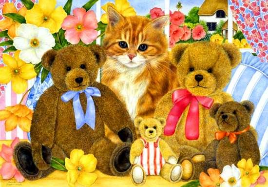 Картина по номерам 40x50 Рыжий котенок и плюшевые мишки